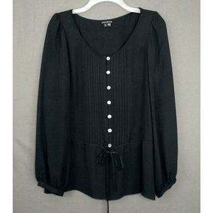 Theory Black Silk Billow Sleeve Button Front Top